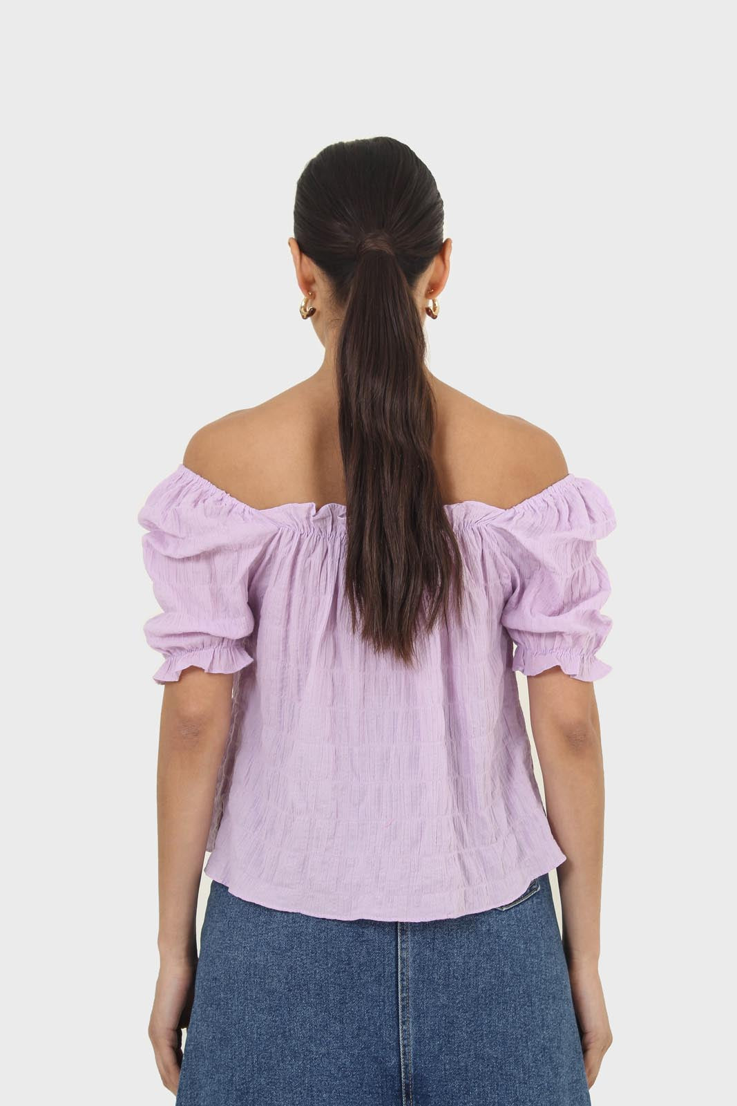 Lilac textured off the shoulder top2