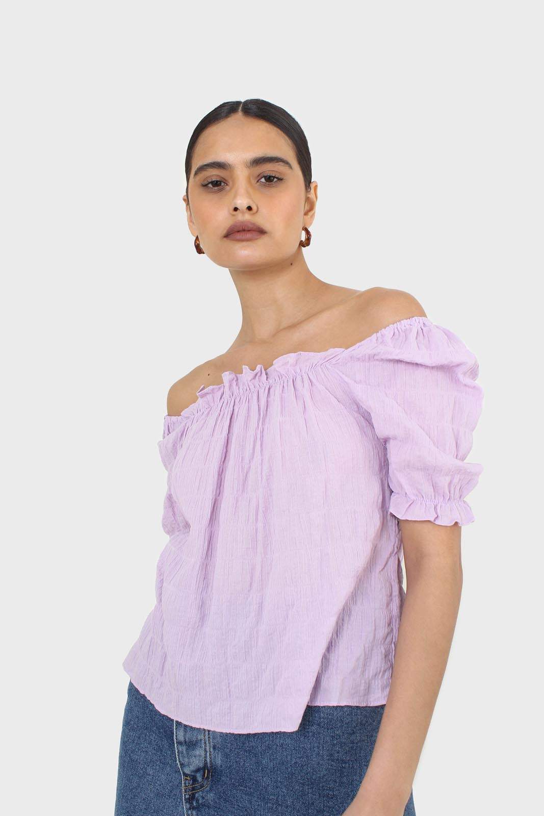 Lilac textured off the shoulder top3