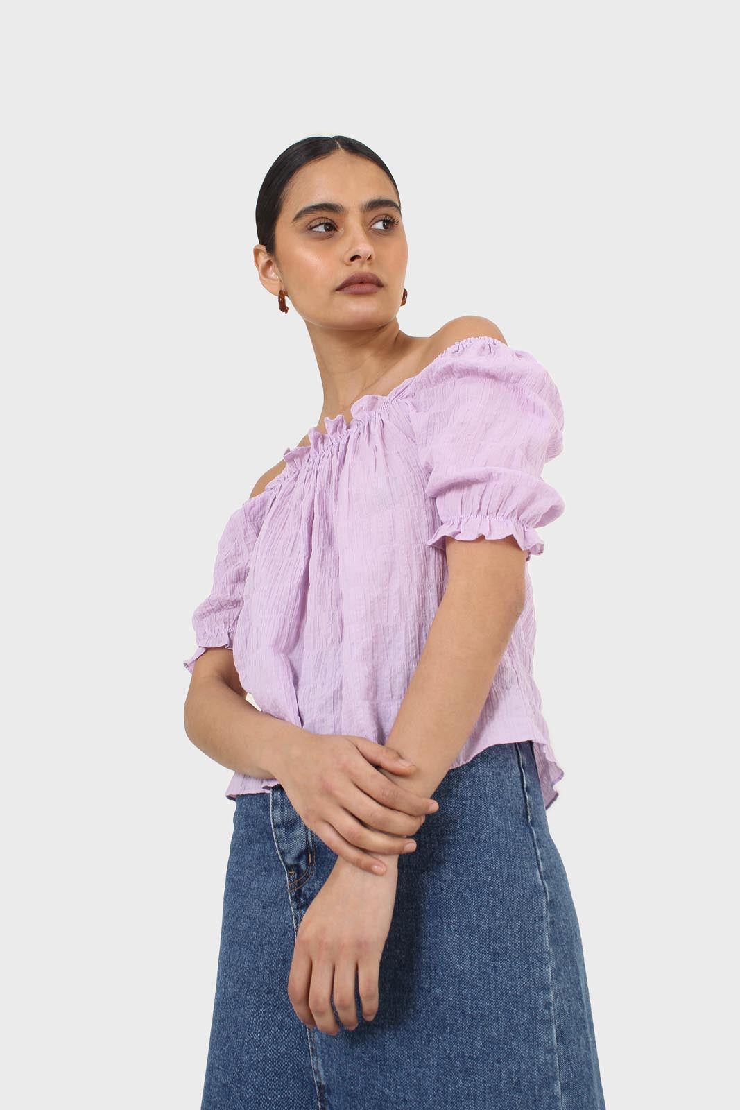 Lilac textured off the shoulder top6