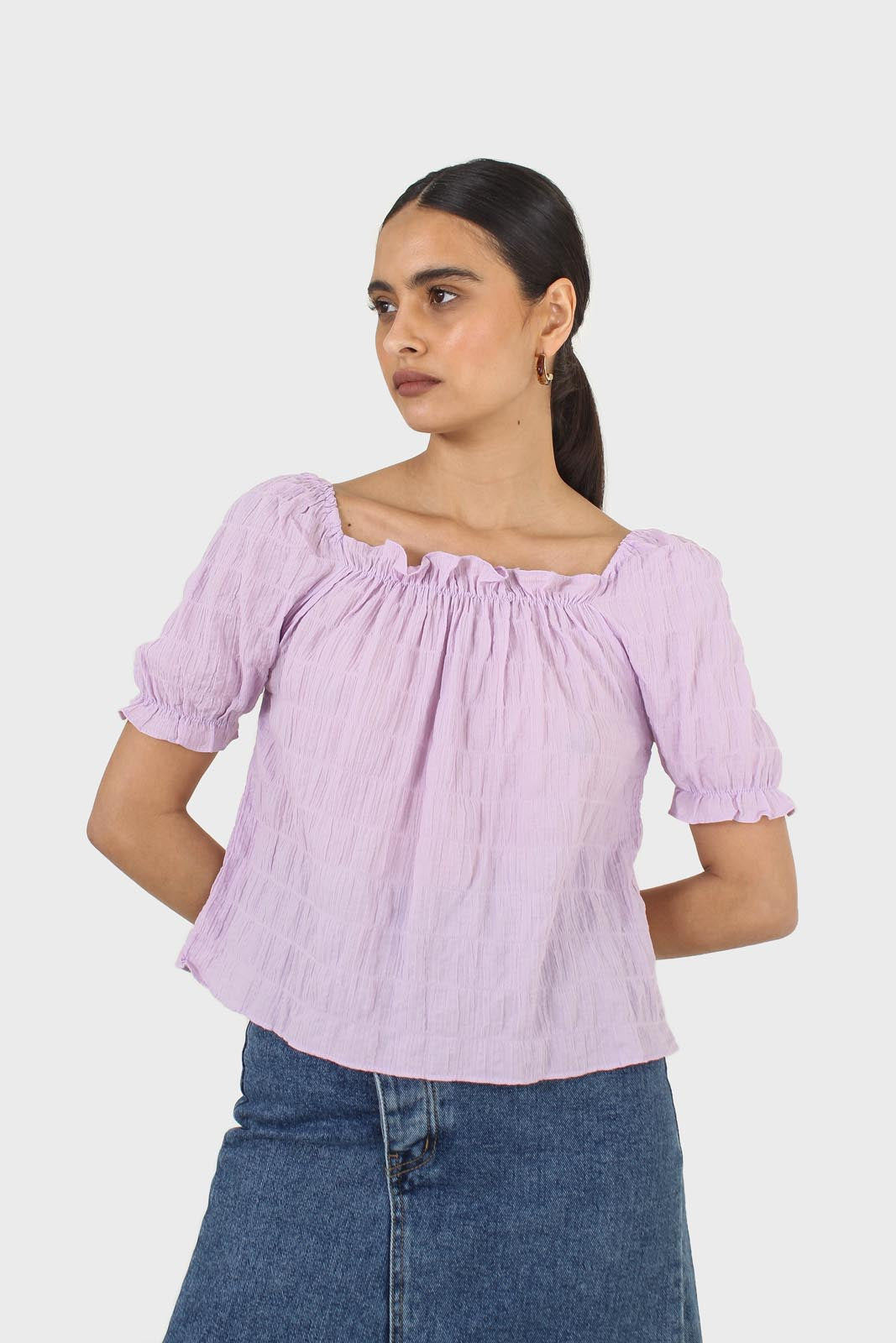 Lilac textured off the shoulder top7