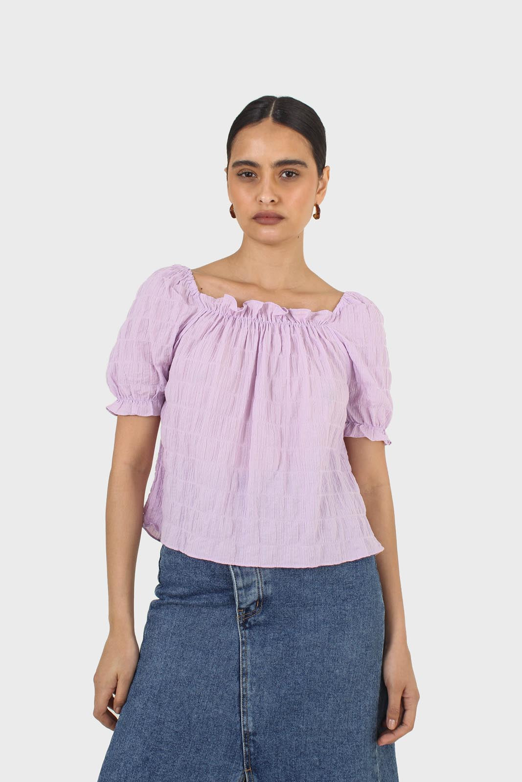 Lilac textured off the shoulder top8