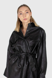 Black vegan leather belted shirt jacket1