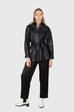 Load image into Gallery viewer, Black vegan leather belted shirt jacket2