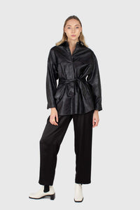 Black vegan leather belted shirt jacket2