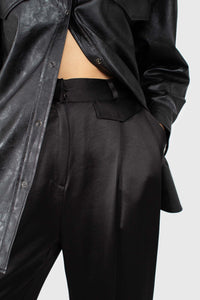 Black vegan leather belted shirt jacket5