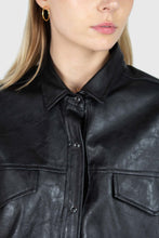 Load image into Gallery viewer, Black vegan leather belted shirt jacket6