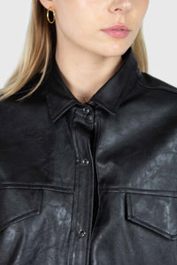 Black vegan leather belted shirt jacket6