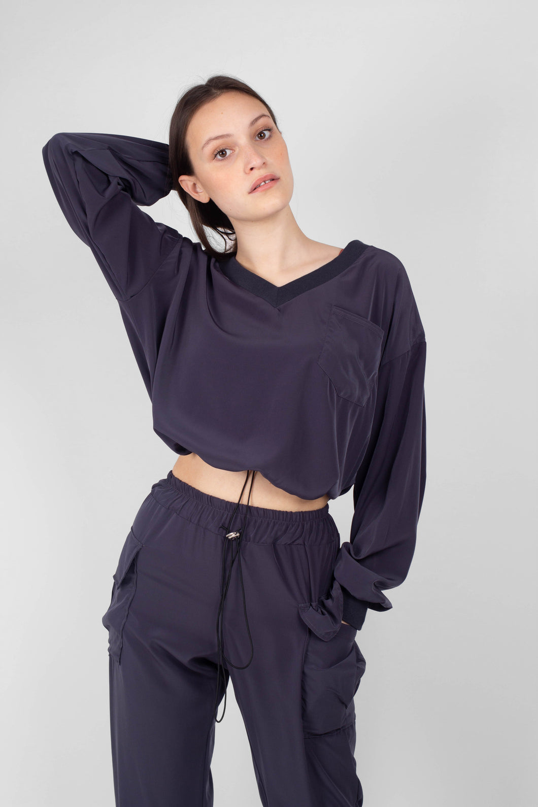 Charcoal silky V-neck top