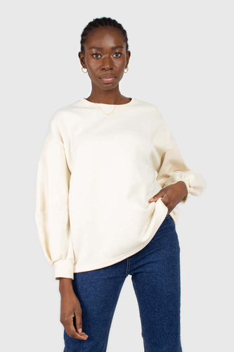 Cream vegan leather contrast sleeve sweatshirt1