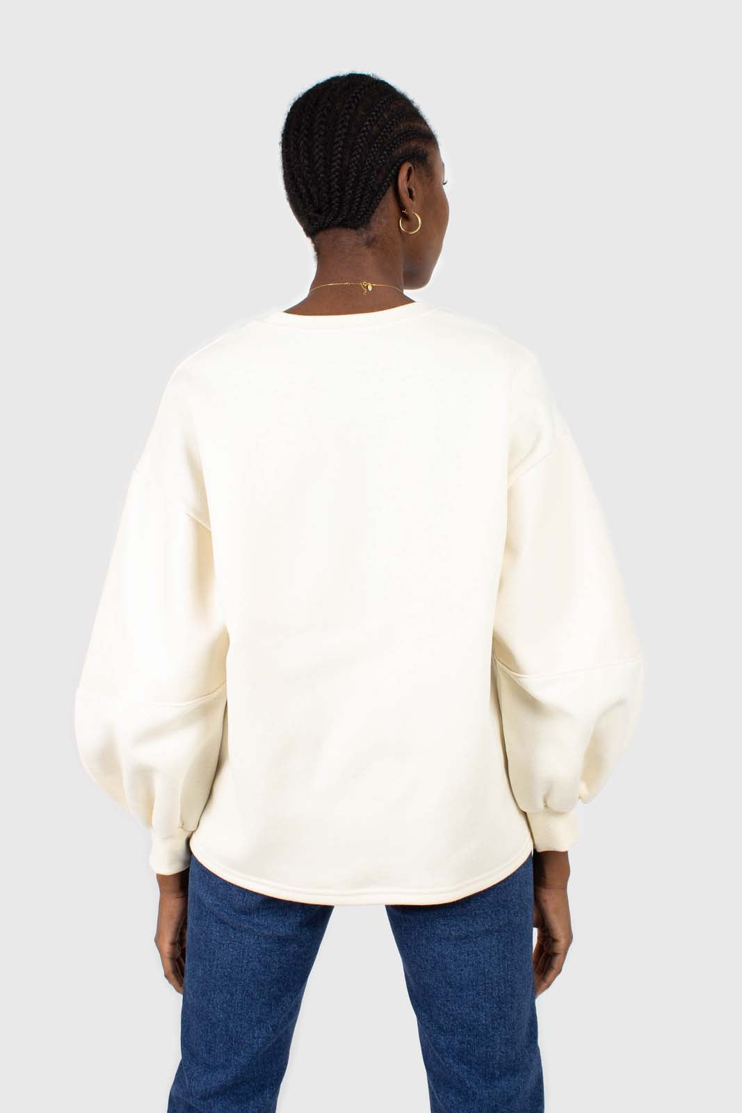 Cream vegan leather contrast sleeve sweatshirt2