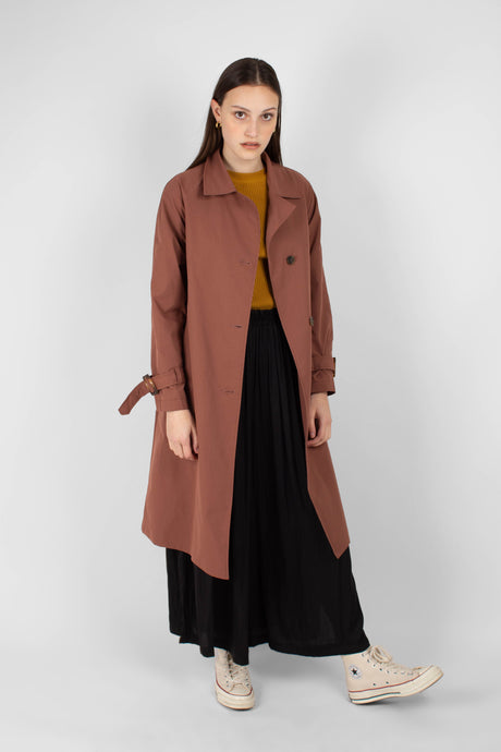 Dusty pink single breasted trench coat1