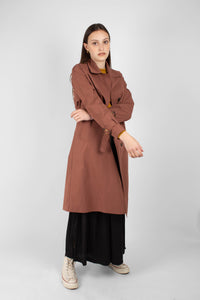 Dusty pink single breasted trench coat2