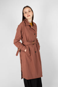 Dusty pink single breasted trench coat6
