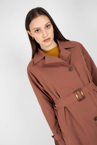 Dusty pink single breasted trench coat9