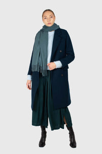 Green silky shirring loose fit trousers