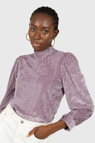 Lilac ribbed velvet long sleeve mock neck top1