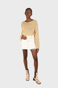 Natural ivory raw hem denim mini skirt 1
