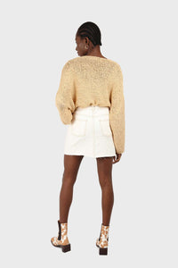 Natural ivory raw hem denim mini skirt - 37551_ 2