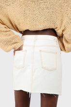 Load image into Gallery viewer, Natural ivory raw hem denim mini skirt - 37551_3