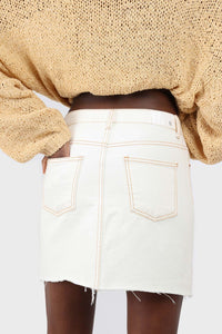 Natural ivory raw hem denim mini skirt - 37551_3