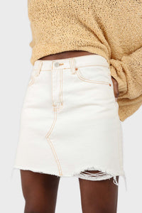 Natural ivory raw hem denim mini skirt - 37551_ sx