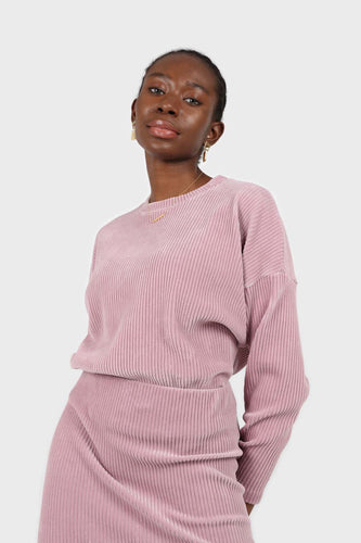 Pink ribbed velvet long sleeved top1sx