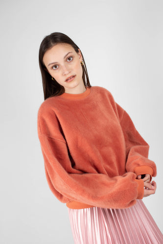 Rust orange vegan horse hair sweatshirt 1