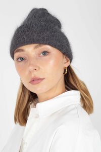 Charcoal grey mohair beanie hat