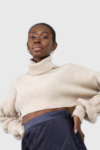 Beige balloon sleeved cropped wool blend turtleneck top10