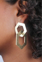 Load image into Gallery viewer, Gold linking hexagon earrings