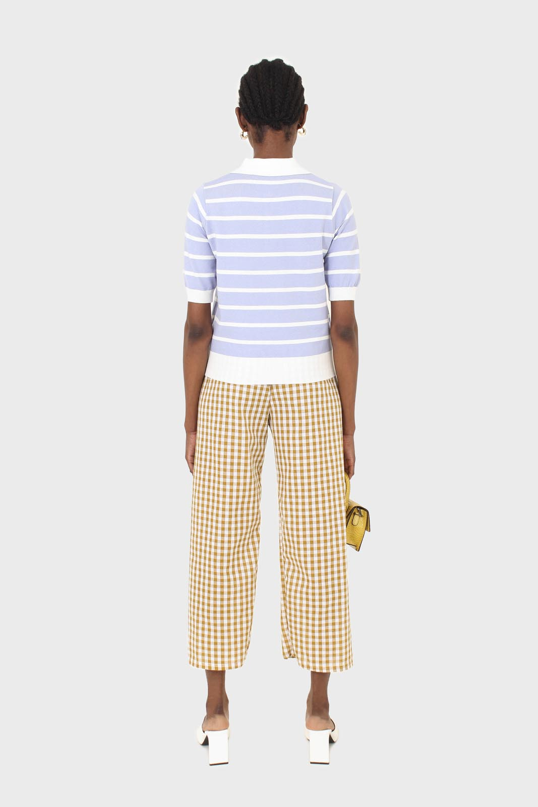 Mustard and white gingham loose fit trousers