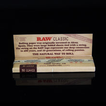 Load image into Gallery viewer, RAW 1 1/4 Rolling Papers - Flight Zone Brand: RAW  Material: Organic Hemp Paper Size: 1 1/4 Color: N/A Features:  Original RAW Rolling Papers Natural Unrefined Papers Classic 50 Papers Per Pack