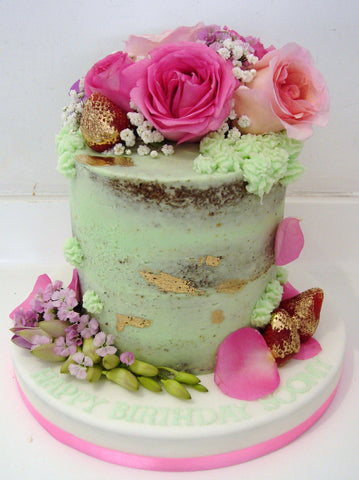 3layer 6'', naked cake with fresh flower