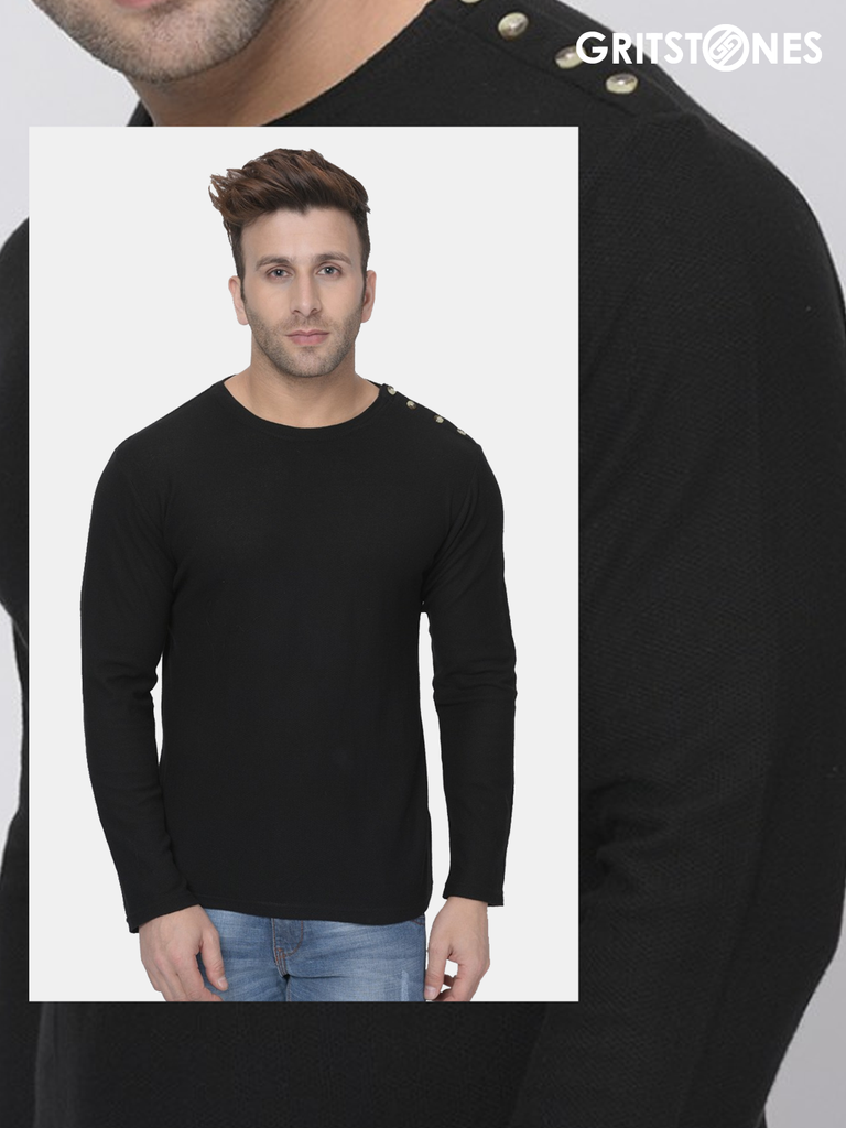 Black Full Sleeves Waffle Knit Crew Neck Side Button T-Shirt