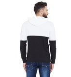 Gritstones White/Black Printed Hooded Full Sleeves T-Shirt