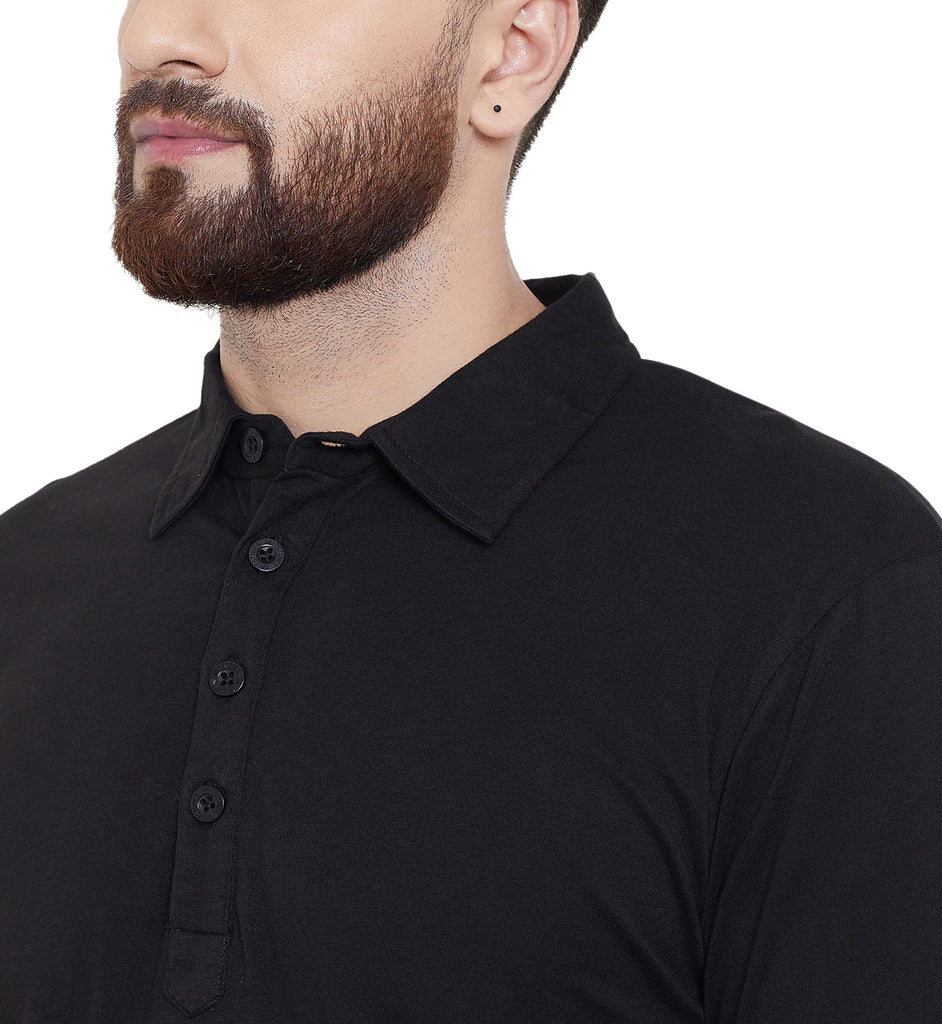 Gritstones Black Solid Regular Collar Full Sleeves Kurta