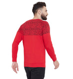 Gritstones Red Printed Round Neck Full Sleeves T-Shirt