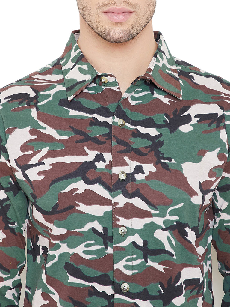 Army Men Full Sleeves Solid Regular Collar Shirt