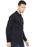 Black Men Full Sleeves Solid Regular Collar Shirt