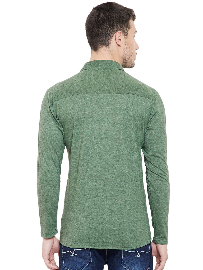 Green Men Full Sleeves Solid Regular Collar Shirt