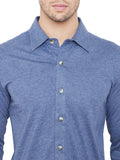 Sky Blue Men Full Sleeves Solid Regular Collar Shirt