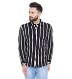 Gritstones Black Printed Regular Collar Full Sleeves Shirt