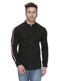 Black Full Sleeves Casual Taping Shirt