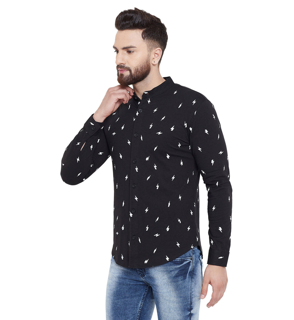 Gritstones Black Printed Chinese Collar Full Sleeves Shirt