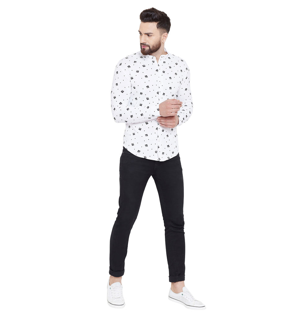 Gritstones White Printed Chinese Collar Full Sleeves Shirt