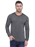 Dark Grey Black White Full Sleeve Round Neck T-Shirt