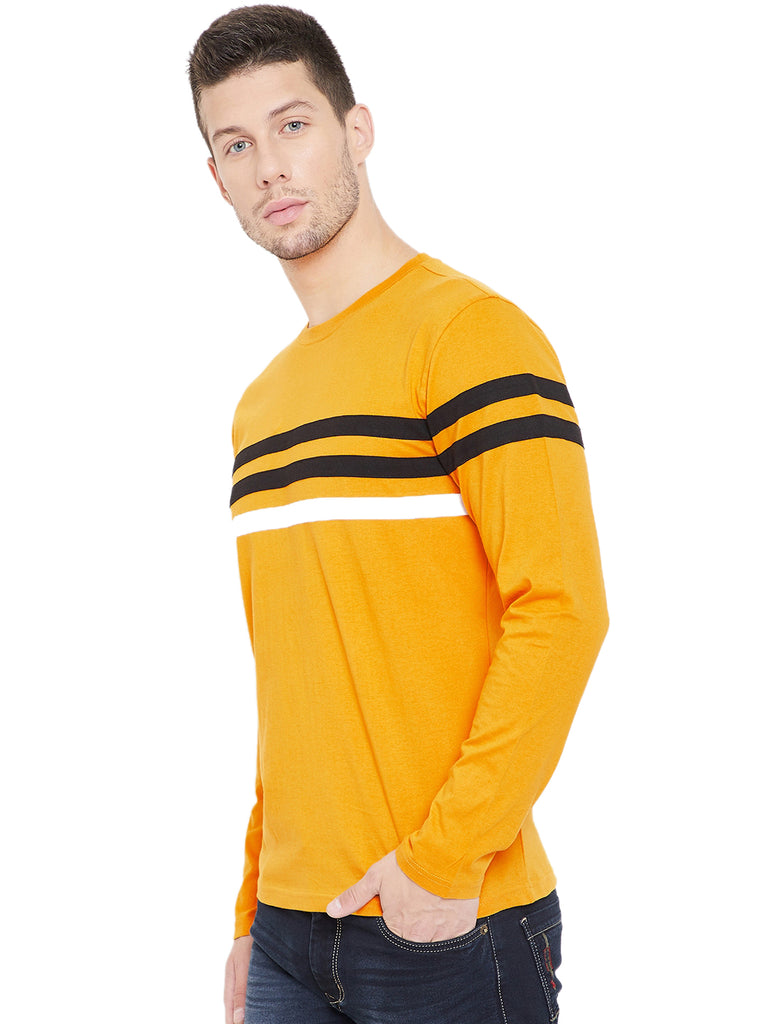 Yellow/Black/White Men Full Sleeves Round Neck Color Block T-Shirt