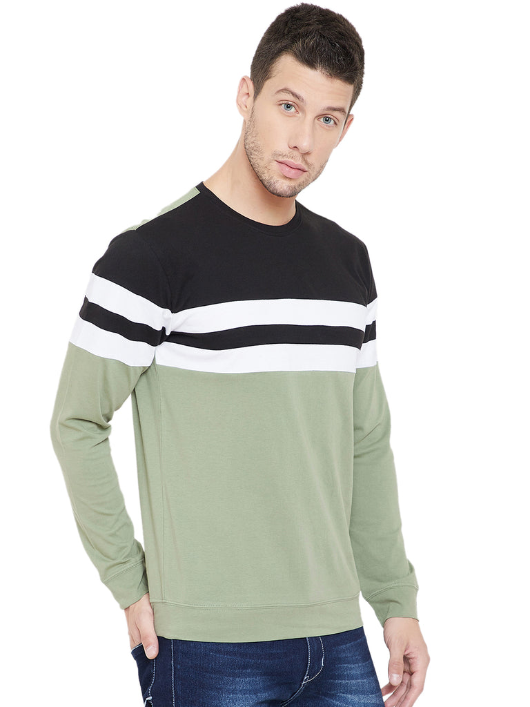 Black/White/Moss Green Men Full Sleeves Round Neck Color Block T-Shirt