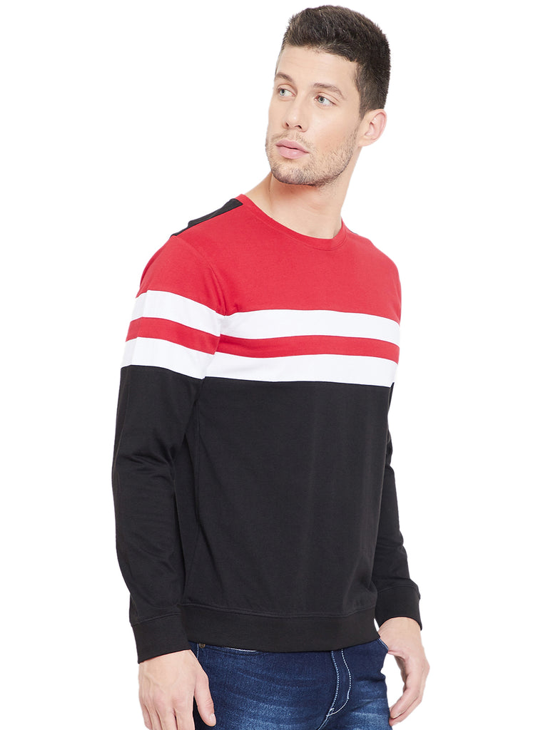 Red/White/Black Men Full Sleeves Round Neck Color Block T-Shirt