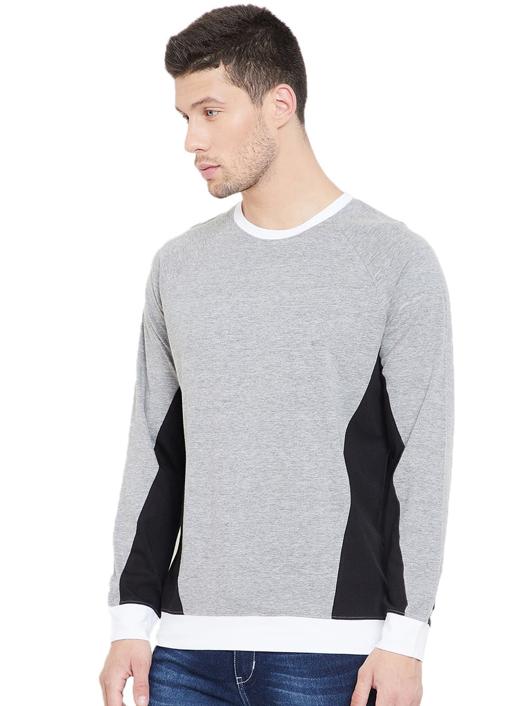 Grey Melange/Black/White Men Full Sleeves Round Neck Color Block T-Shirt